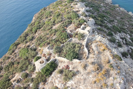 Aerial view of the summit of Boğsak Island