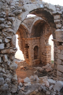 "Interior of Church V (""Martyrion"") looking southeast"