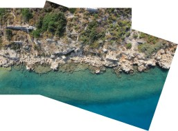 Aerial photograph of a section of the western coast of Boğsak Island