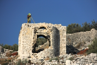 "Alihan Keskin at the Total Station on Church V (""Martyrion"")"