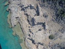 A part of shoreline quarries from air